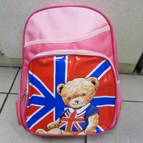 ~雪黛屋~泰迪熊 透氣背墊書包上學書包可放A4資夾  品加強護脊透氣 TD2C12粉紅