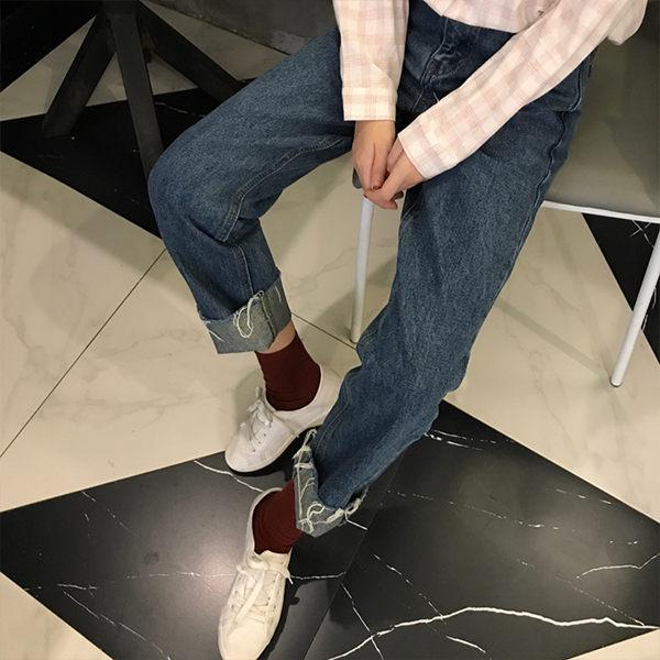 PSMall復古百搭直筒褲女水洗撕邊高腰牛仔九分褲【T2309】