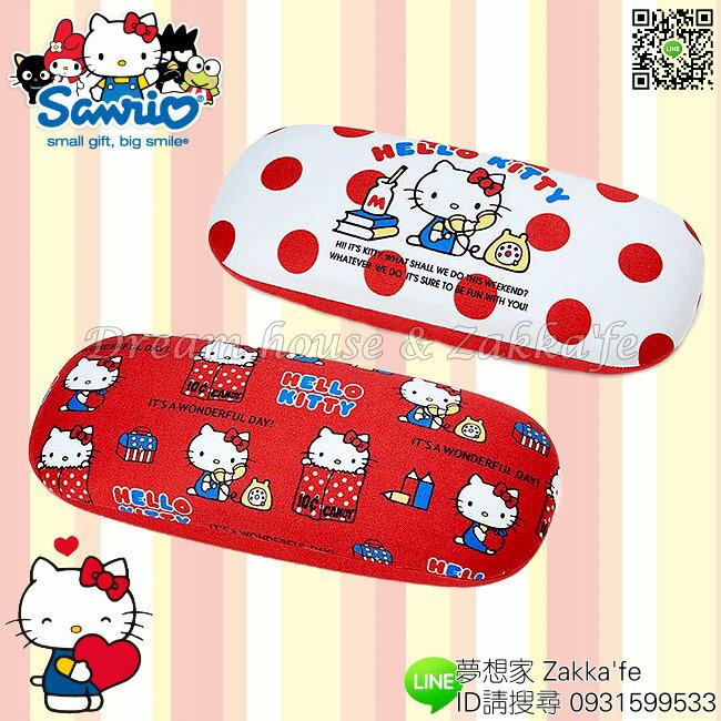 日本限定 三麗鷗 Hello Kitty 凱蒂貓 硬殼眼鏡盒 / 鉛筆盒 / 小物盒《 附眼鏡布 》★ 夢想家Zakka'fe ★ - 限時優惠好康折扣