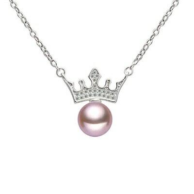 925純銀項鍊 珍珠吊墜~簡潔亮眼皇冠 母親節情人節生日 女飾品2色73dk396~ ~~