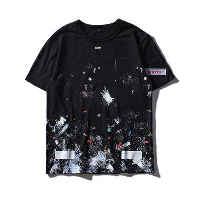 短袖T恤休閒上衣-潑墨塗鴉夏季圓領男裝73qx11【獨家進口】【米蘭精品】