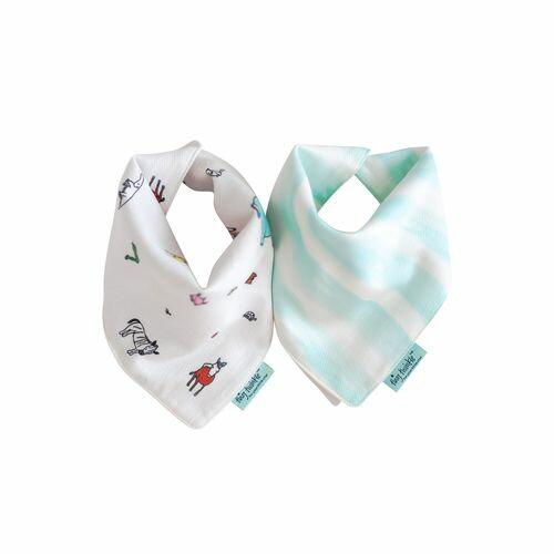 TinyTwinkleDroolBibs口水巾2入組(動物藍條)TT-1105★衛立兒生活館★