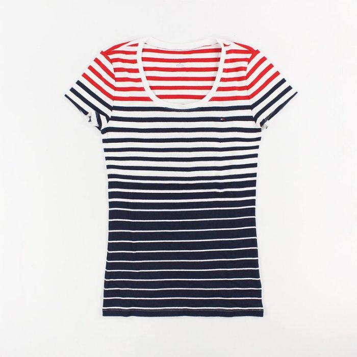 美國百分百【Tommy Hilfiger】T恤 TH 女上衣 U領 T-shirt 短袖 條紋 白深藍紅 S號 I033