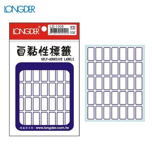 辦公小物嚴選~(量販50包)龍德自黏性標籤LD-1308(白色藍框)12×22mm(490張包)