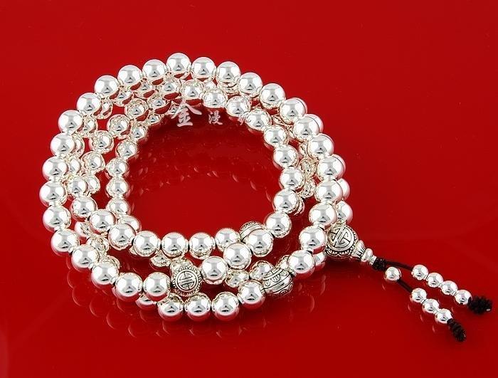 銀手鏈108顆佛珠手鏈念珠銀多層手鏈男女