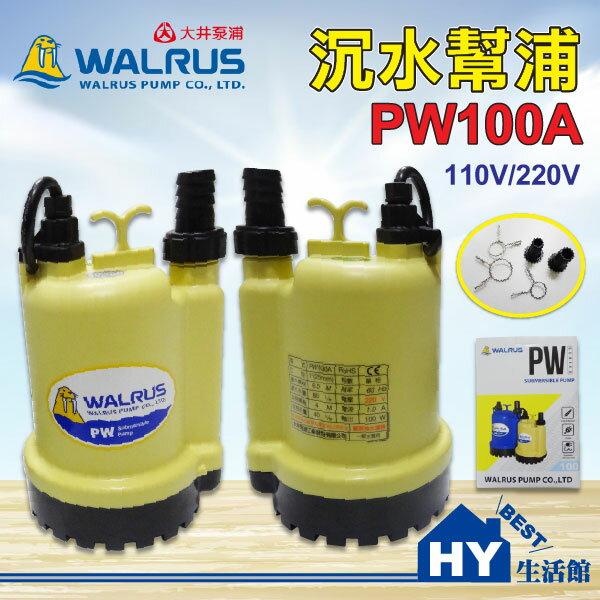 大井泵浦 PW100A 沉水泵浦 110V 220V 可選 。水龜 抽水馬達 抽水機。積水排除 適用一般清水-《HY生活館》