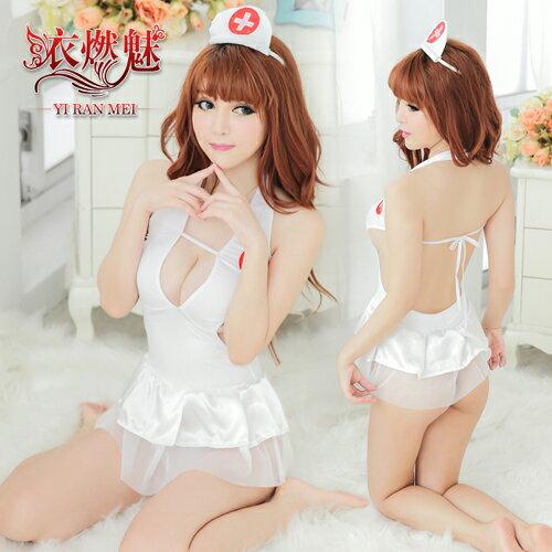 Cosplay 角色扮演《YIRAN MEI》照護誘惑!U低胸裸背三件式護士服 情趣睡衣 性感睡衣