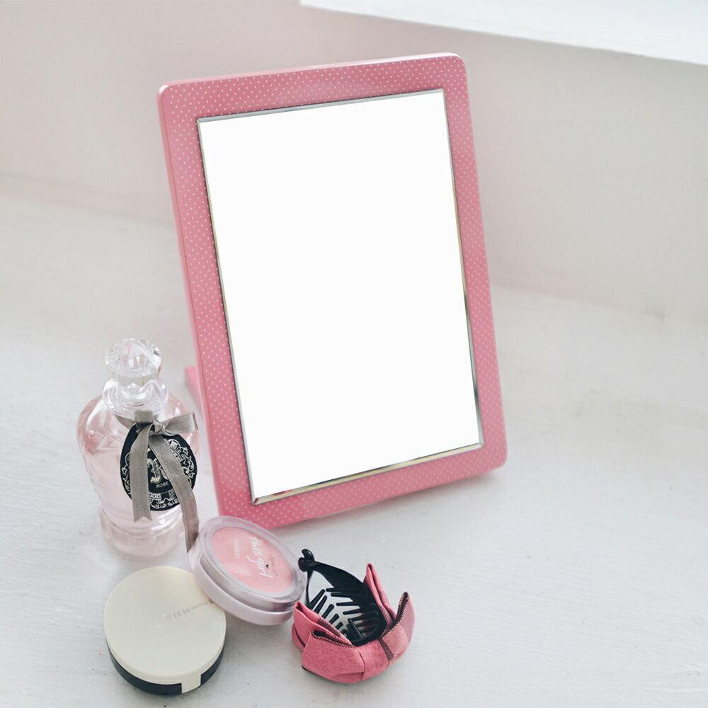 鏡子/化妝鏡 折疊式點點桌上立鏡(五色) MIT台灣製 完美主義【Q0031】