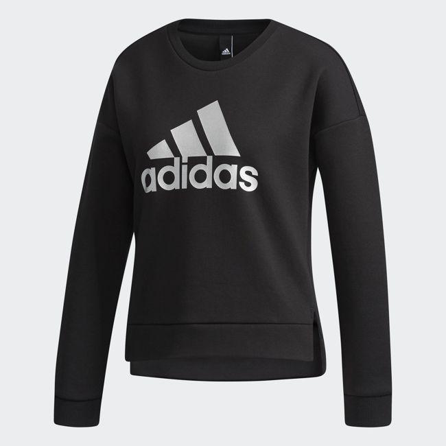 《限時特價↘7折免運》ADIDAS Ess Logo Sweatshirt 女裝 上衣 長袖 短版 銀LOGO 黑【運動世界】CZ2371