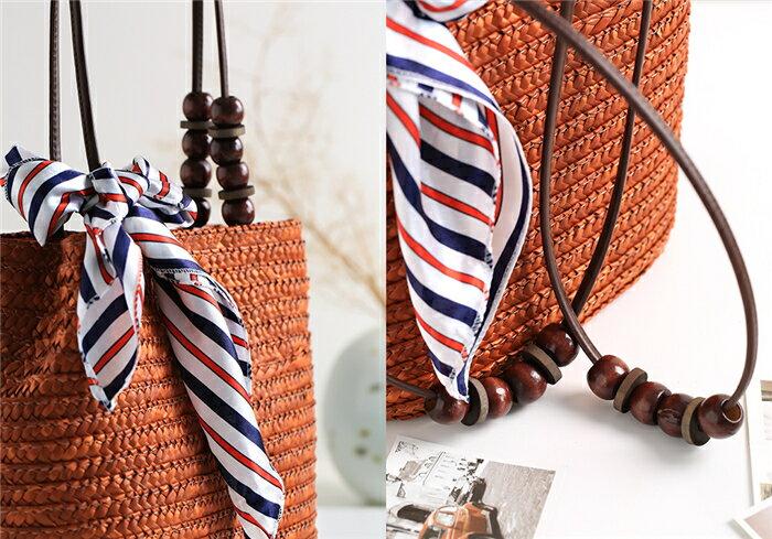 【RS Home】藤編包海灘包側肩包側背包渡假包島嶼時尚包圓桶包磁扣包藤編包 7