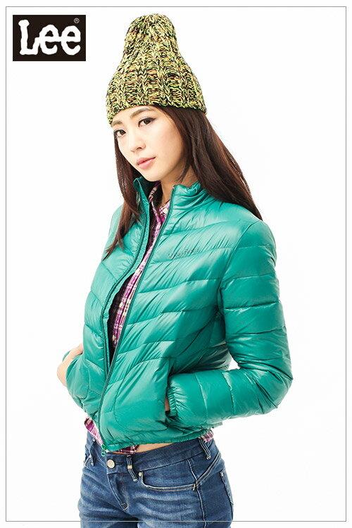 【單一價↘899】Lee 羽絨保暖外套 前拉鍊縮口立領短版輕量-女款(綠)