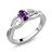 0.35 Ct Oval Purple Amethyst 925 Sterling Silver Ring 0