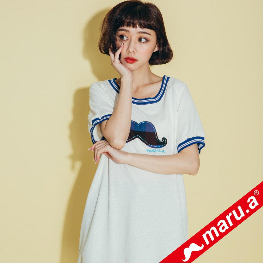 【maru.a】大鬍子撞色羅紋T-Shirt(2色)8321316 1