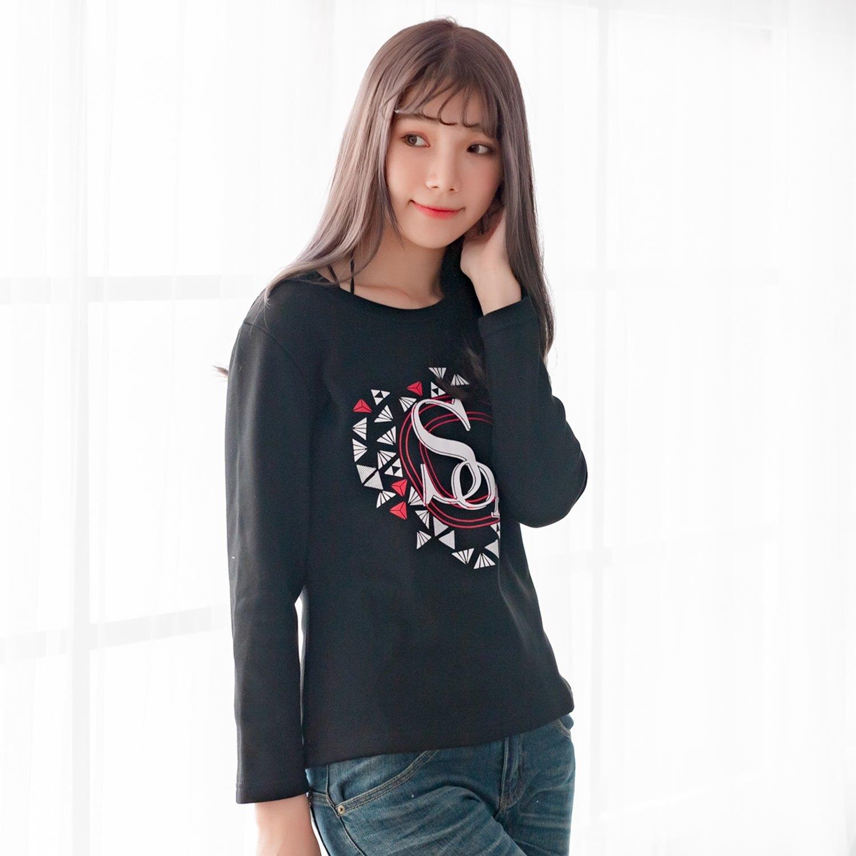 大學T--舒適個性風英字印花寬鬆修身百搭複合絨保暖長袖T恤(黑.紅M-3L)-F160眼圈熊中大尺碼 0