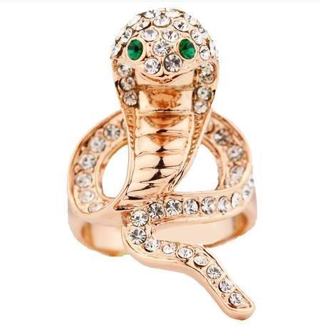 蛇形眼鏡蛇龐克個性 女飾品戒指首飾玫瑰金