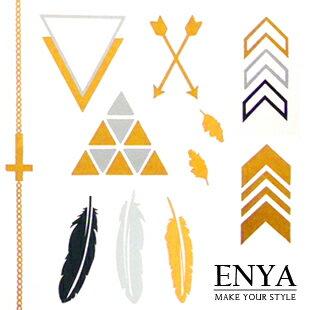 歐美流行 燙金金屬刺青紋身貼紙 Enya恩雅 手環臂章款式 四款可選【TASS5】