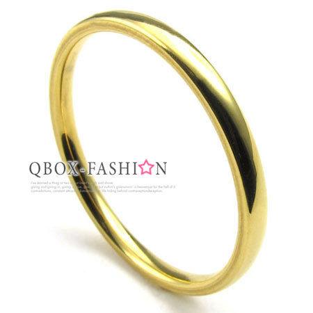 《 QBOX 》FASHION 飾品【W10022931】精緻個性細版素面金色316L鈦鋼戒指/戒環(0.2cm)