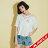 【maru.a】胸前送子鳥刺繡寬鬆下擺蕾絲透膚上衣(2色)8311224 1