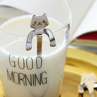 婚禮小物推薦到日本304不鏽鋼咖啡掛勺 貓咪湯匙攪拌棒 療癒杯緣子點心餐具小湯匙 日式創意雜貨禮物 婚禮小物《波卡小姐 貓咪小物》FD0030-CB0012