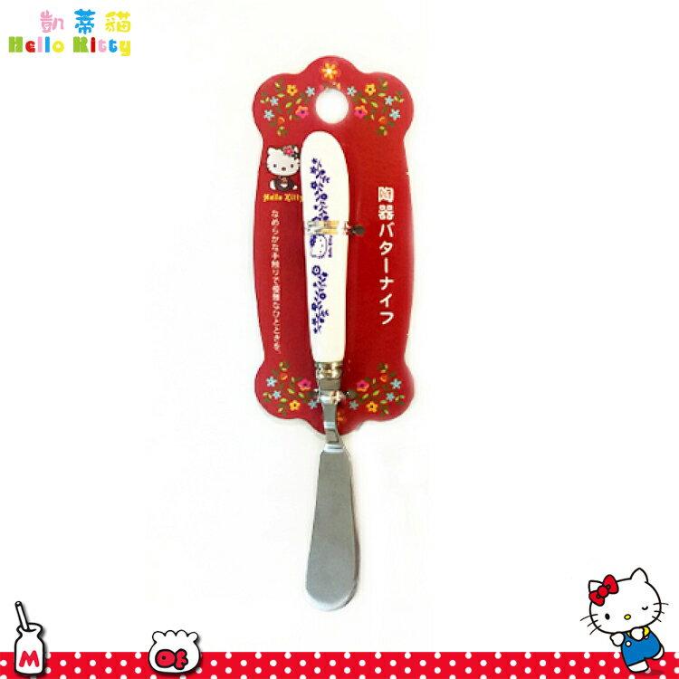 三麗鷗凱蒂貓Hello Kitty 陶瓷把手不鏽鋼抹刀奶油刀吐司抹刀 陶瓷不鏽鋼餐具 日本進口正版 170309