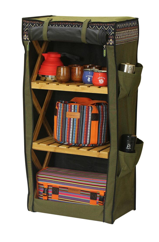 野樂伸縮四層竹架布櫃,布袋下方有魔鬼氈設計 ARC-109-4C 野樂 Camping Ace 0