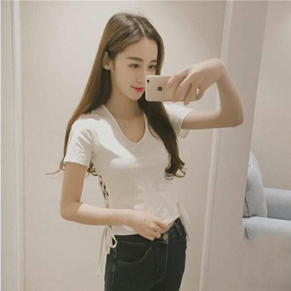 PS Mall  修身側面繫帶純色短袖T恤~T1206~ ~  好康折扣