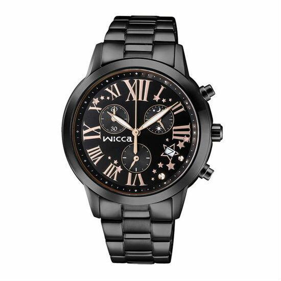CITIZEN星辰WICCA(BM1-245-51)黑金羅馬三環時尚腕錶/黑面38mm