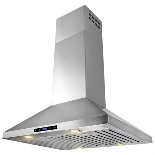 "AKDY 30"" Stainless Steel Island Mount Range Hood Touch Screen Display Light Lamp Baffle Filter 1"