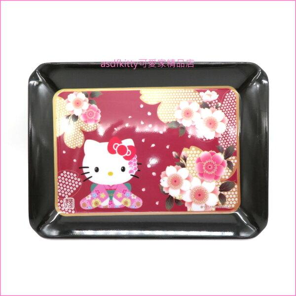 asdfkitty可愛家☆KITTY黑色櫻花和服置物盤托盤點心盤水果盤-日本正版商品