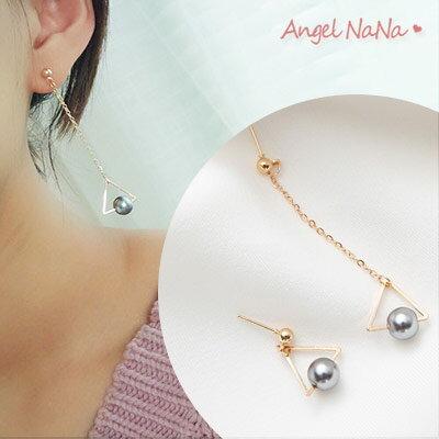 AngelNaNa:耳環《可改夾式》《可改S925銀針》不對稱幾何三角長耳墬耳釘【RA0063】
