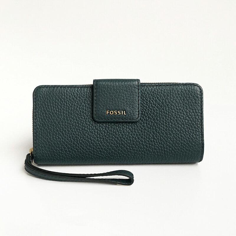 美國百分百【全新真品】Fossil 皮夾 長夾 錢包 零錢 證件夾 卡片夾 信用卡 禮物 LOGO 女包 綠色 AC94