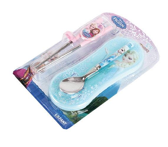 ★衛立兒生活館★冰雪奇緣學習筷+湯匙+餐具盒(3件組)