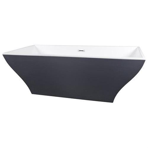 "67"" White Grey Acrylic Bathtub Freestanding Bathroom Shower Spa Body Contemporary Rectangular Bath T 3"