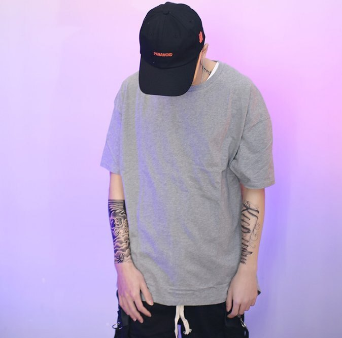 FINDSENSE Z1 韓國 男 時尚 街頭 素面 寬鬆魚尾剪裁 短袖T恤 特色短T 素面T