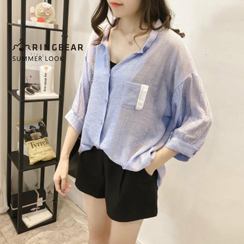 氣質襯衫--慵懶夏日氣息柳葉皺褶紗五分寬袖方領V型開襟上衣(藍XL-5L)-I85眼圈熊中大尺碼 0