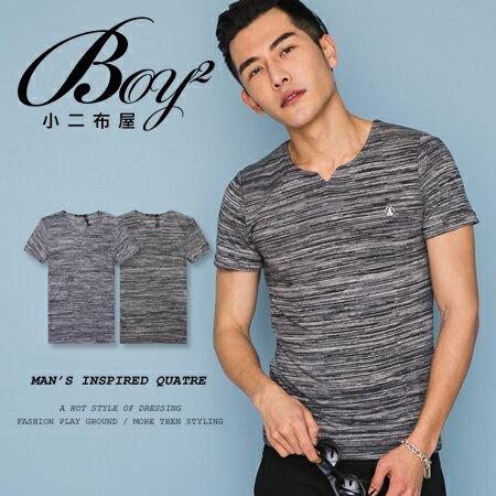 ☆BOY-2☆【LL1005-1】休閒素面線條修身V領短袖T恤 0