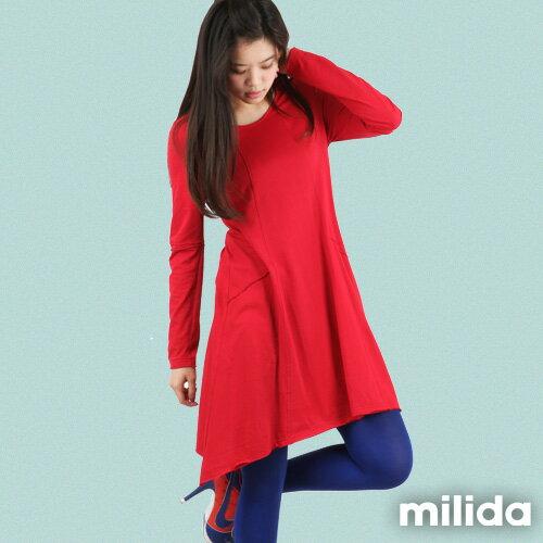 【Milida,全店七折免運】-秋冬單品-洋裝款-長版休閒風 0