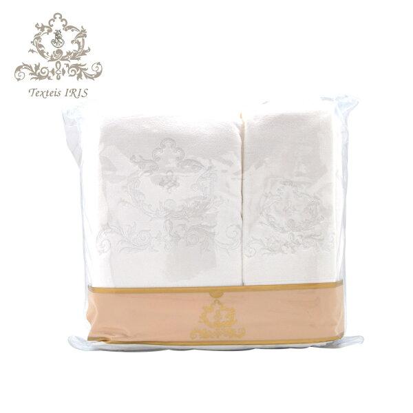 葡萄牙TexteisIRIS頂級棉製毛巾浴巾三件組(白底白色繡花)