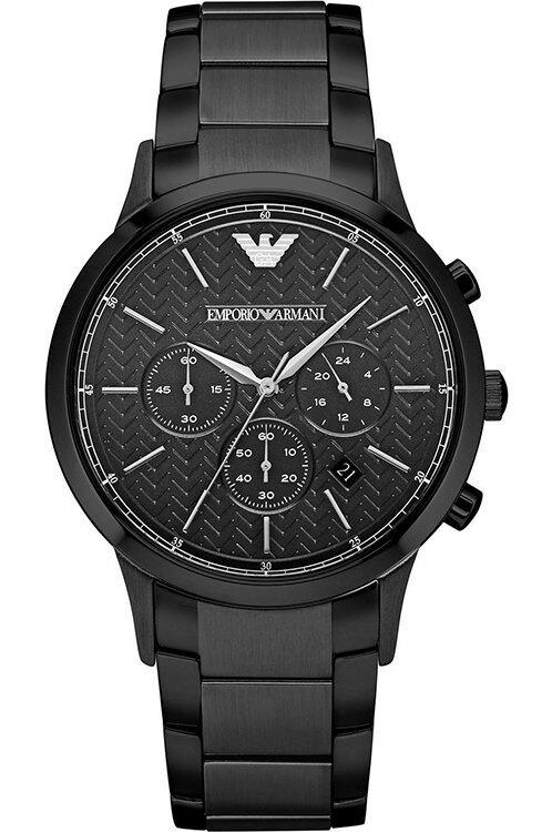 【錶飾精品】ARMANI手錶 亞曼尼表 經典紋路 日期 三眼計時 黑面鋼帶男錶 AR2485 全新原廠正品 生日禮品