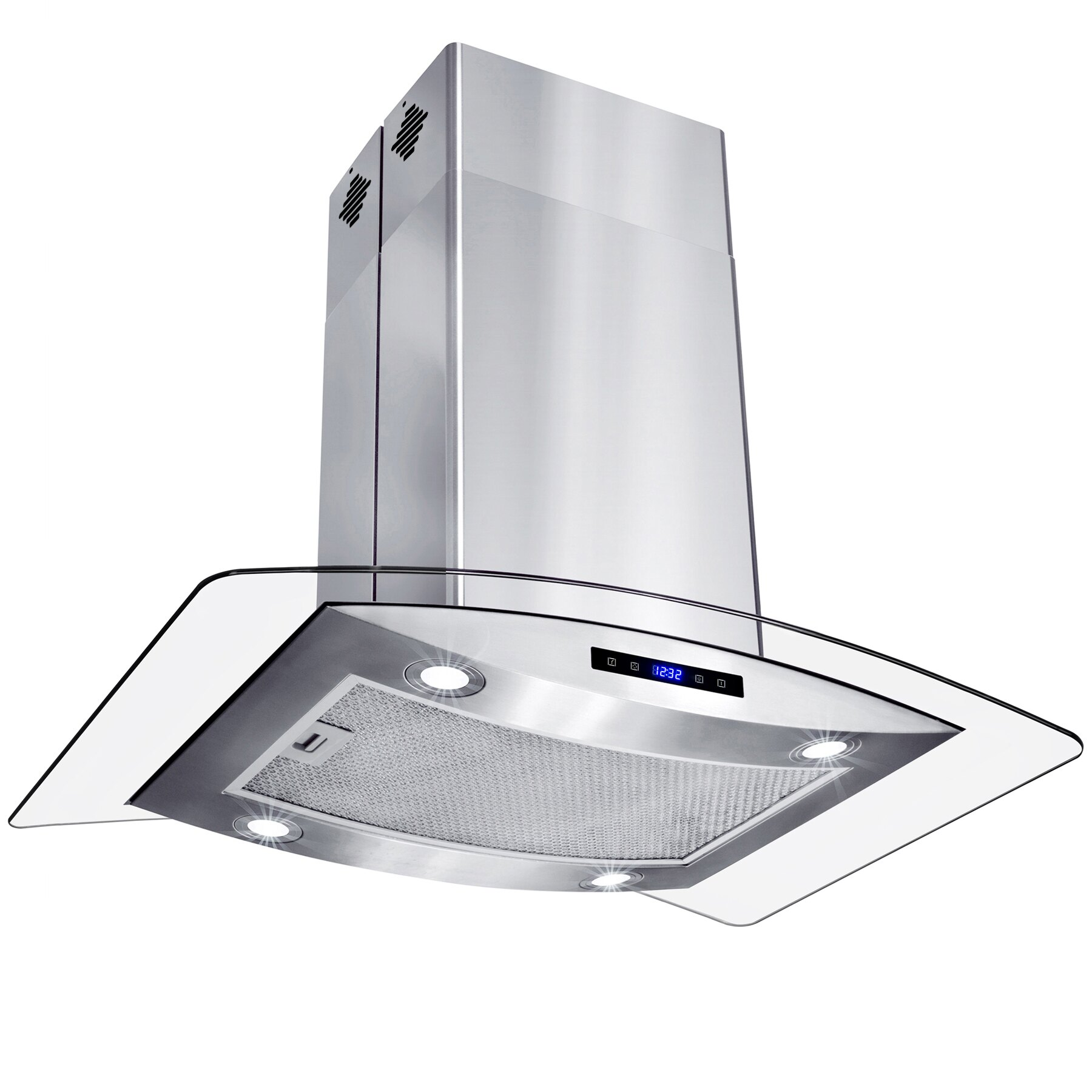"""AKDY 30"""" Island Mount Stainless Steel Tempered Glass Touch Panel Kitchen Range Hood Cooking Fan 4"""