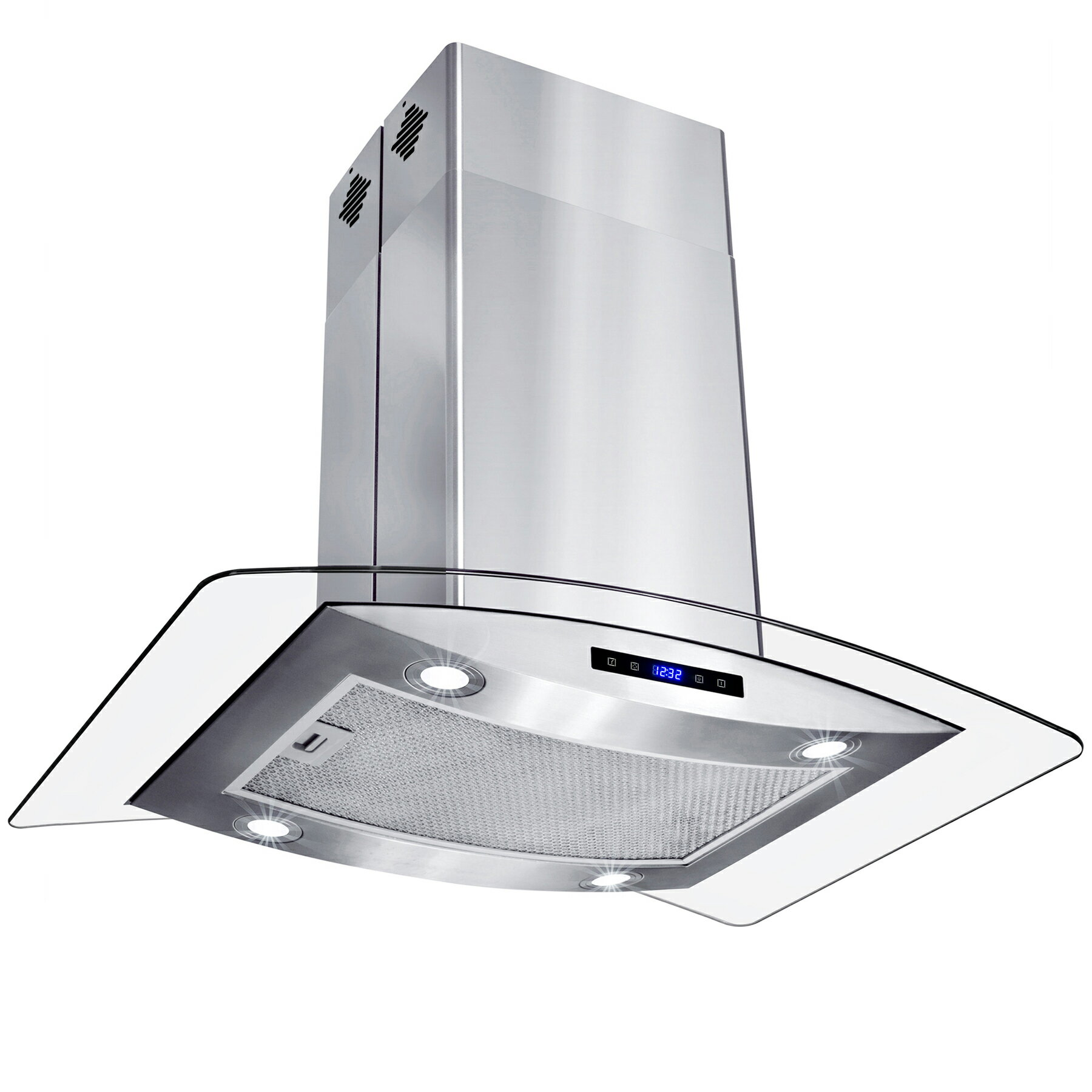 "AKDY 30"" Island Mount Stainless Steel Tempered Glass Touch Panel Kitchen Range Hood Cooking Fan 2"