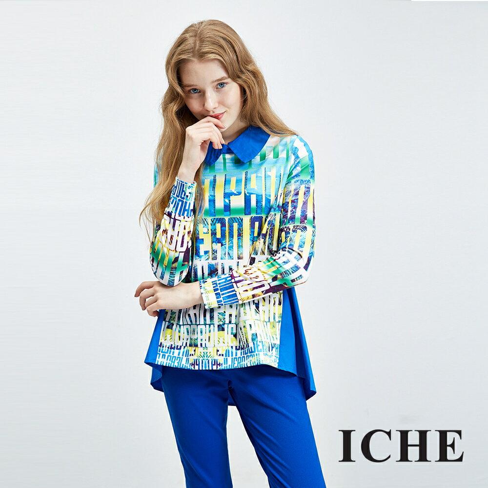 ICHE衣哲 繽紛字母印花水鑽長版襯衫上衣