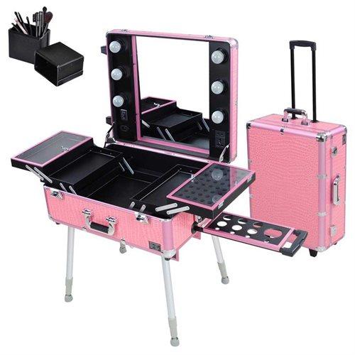 Rolling Studio Makeup Artist Cosmetic Case w/ Light Leg Mirror Pink Train Table e46ca3f9760aad5cfec49882a32bb5ce
