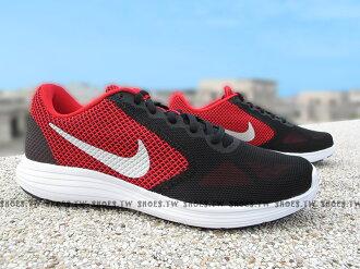 Shoestw【819300-600】NIKE REVOLUTION 3 慢跑鞋 紅黑 公牛 透氣網布 男款