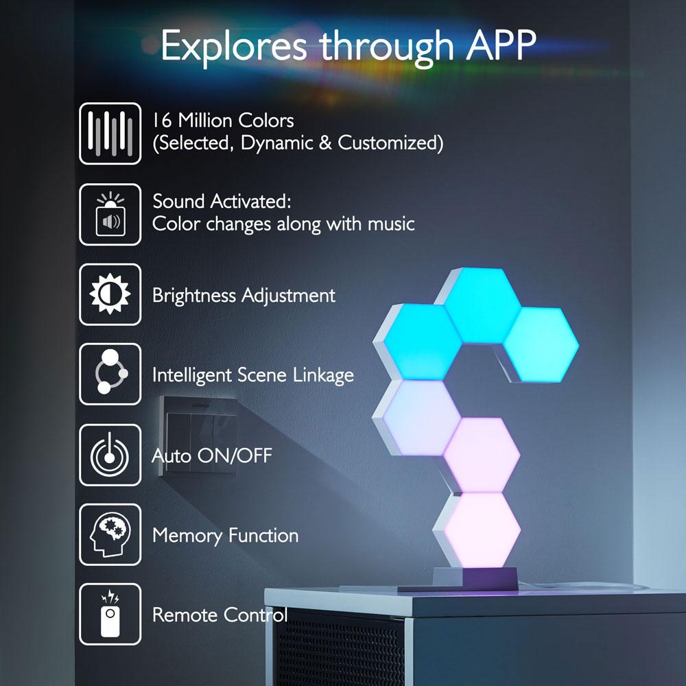 LifeSmart WiFi Smart LED Light Kit Splicing 3 Block Base 16 Million Color  Work w/ Alexa Google Decor