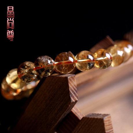 黃水晶手鏈 透體 圓珠橘黃色 招財水晶