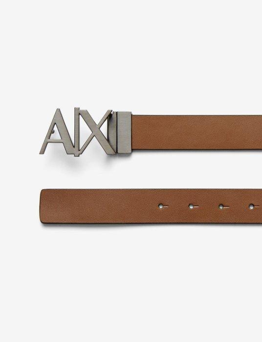 美國百分百【Armani Exchange】AX 男款 配件 皮帶 真皮 牛皮 腰帶 logo 雙面 駝色 30 36 38 40腰 H713