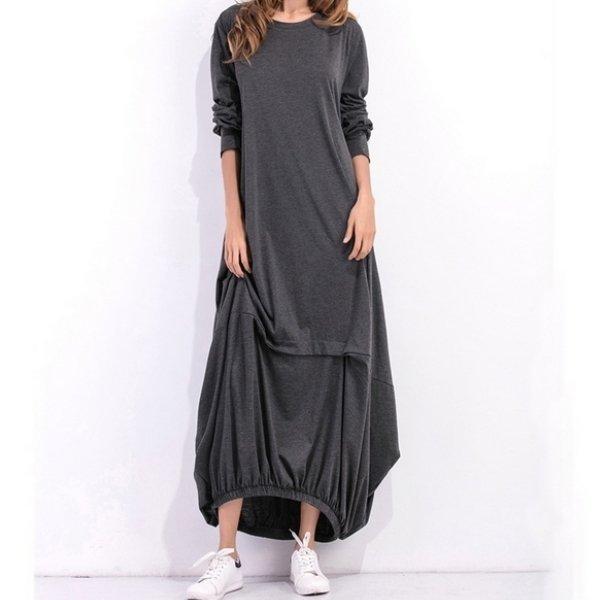 *漂亮小媽咪*長袖純色寬鬆燈籠裙長裙加大寬鬆長洋裝孕婦裝孕婦洋裝D1060