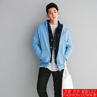 DITION SHOP 韓系情侶馬卡龍布邊連帽外套 素色 橫須賀 飛線