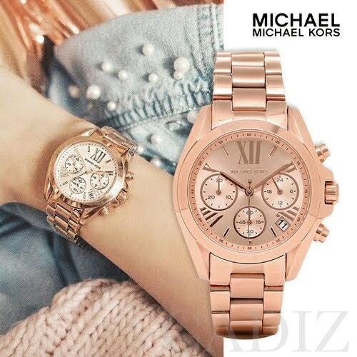 預購 美國正品 Michael Kors 羅馬三眼計時玫瑰金手錶 Rose Dial MK5799 MK5503